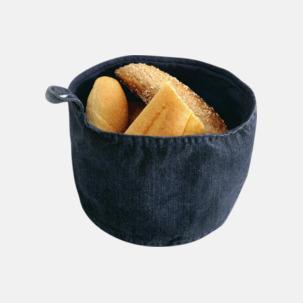 Brödkorgar i jeans med reklamlogo