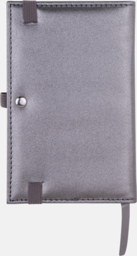 Silverfärgade anteckningsblock med rutade papper - med reklamtryck