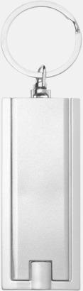 Silver (framsida) Ficklampa till nyckelringen med reklamtryck