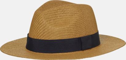 Caramel/Svart Hatt i ledig sommarstil med reklamtryck