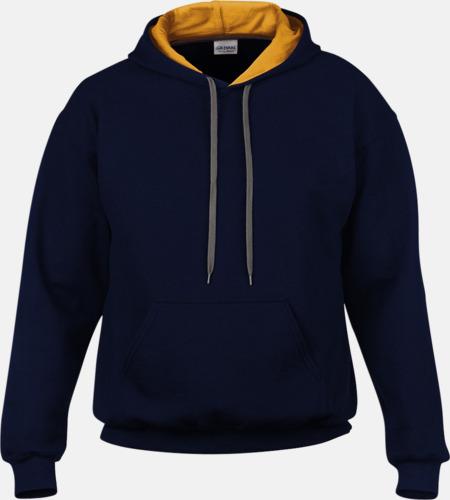 Marinblå/Gold Tvåfärgade huvtröjor med reklamtryck