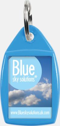 Blå Nyckelringar i olika former med digitaltryck