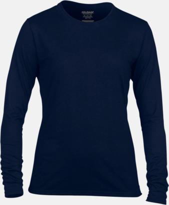 Marinblå (dam) Långärmade funktionströjor för vuxna och barn med reklamtryck