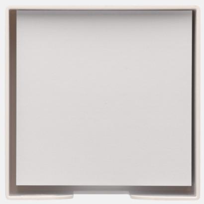 Plastkub med vita anteckningspapper - med reklamtryck