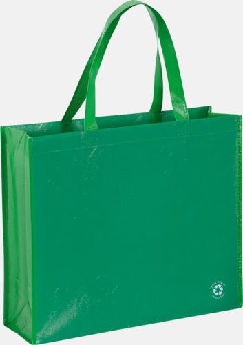 Grön Shoppingbagar med korta handtag - med tryck