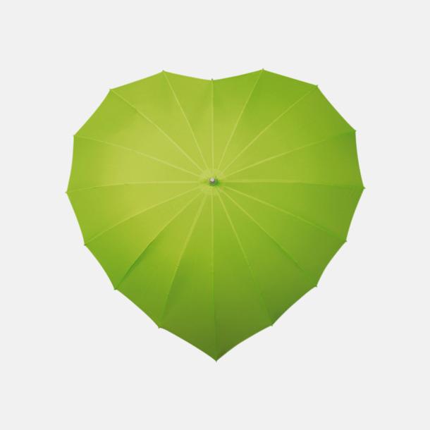 Grön (PMS 374C) Hjärtformade paraplyer med eget tryck