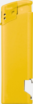 Gul Påfyllningsbara tändare med kapsylöppnare - med reklamtryck
