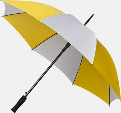 Gul / Vit Golfparaplyer med gummerade handtag
