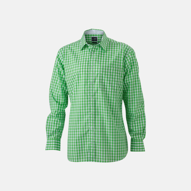 Grön/Vit (herr) Rutiga bomullsskjortor & -blusar med reklamtryck