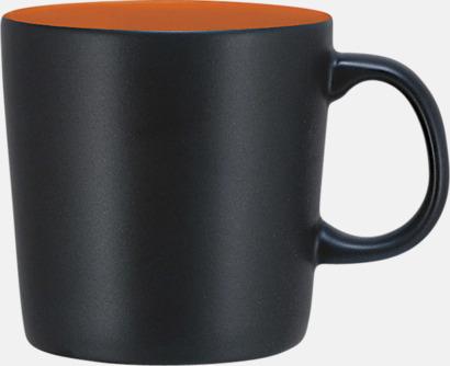 Svart/Orange (matt) Koppar med reklamtryck