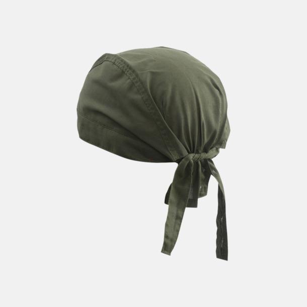 Olivgrön (hatt) Bandanas i två varianter med reklambrodyr