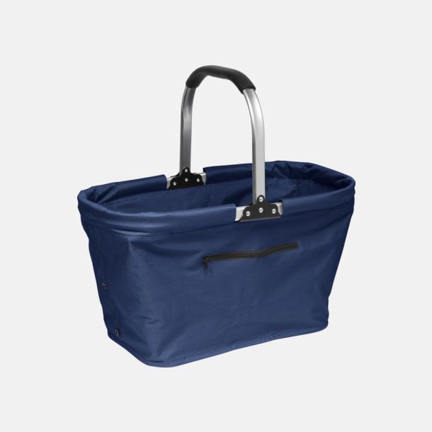Marinblå Shopping- och picknickkorg med eget tryck