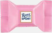 Strawberry Yoghurt Ritter sport pralin på ett kort med reklamtryck