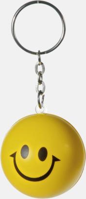 Gul / Svart Små, leende stressbollar med nyckelring - med reklamtryck