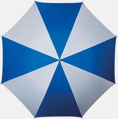 Blå / Vit Golfparaply med rundad träkrycka