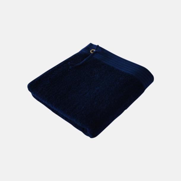 Marinblå Gästhanddukar med metallögla och snöre - med brodyr