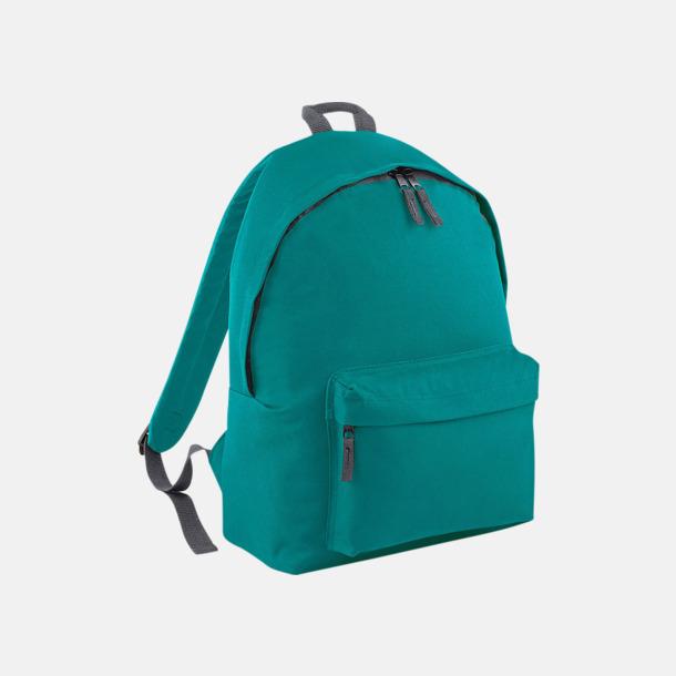 Emerald/Graphite Grey Klassisk ryggsäck i 2 storlekar med eget tryck