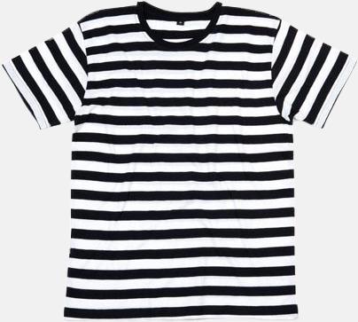 Svart/Vit (herr) Randiga t-shirts i herr-, dam- och barnmodell med reklamtryck