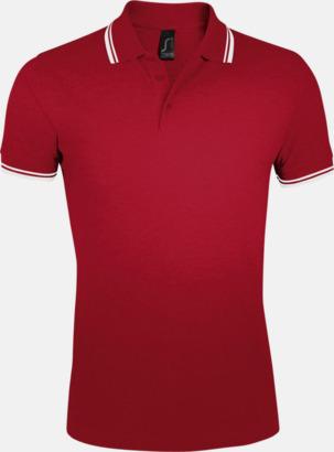 Röd/Vit (herr) Herr- och dampikéer med kontrasterande ränder - med tryck eller brodyr