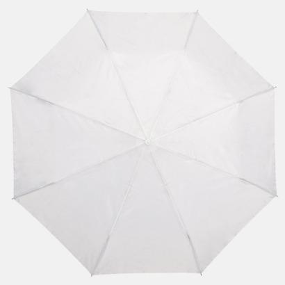 Vit Kompakt Paraplyer - Med tryck