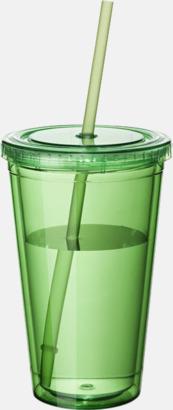 Grön (transparent) Plastmuggar med lock och sugrör - med tryck