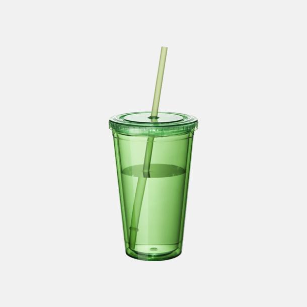 Grön (transparent) Plastmuggar med lock och sugrör - med reklamtryck