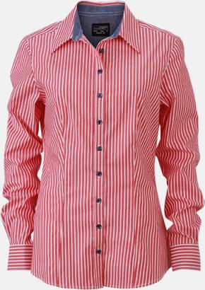 Röd-Vit/Marinblå (dam) Blusar & skjortor i randigt mönster med reklamtryck