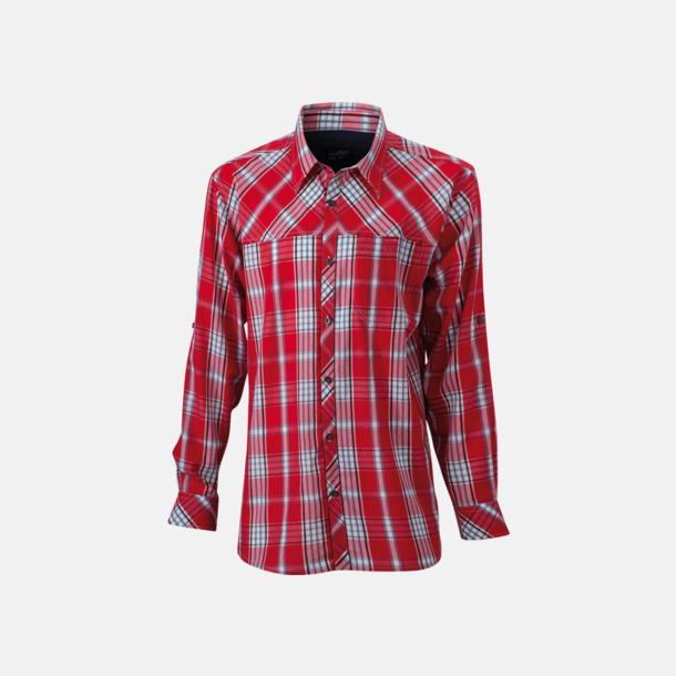 Röd/Marinblå (dam) Rutiga dam- och herrskjortor med reklamtryck