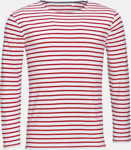 Vit/Röd (herr) Randiga, långärmade herr- & dam tröjor med reklamtryck