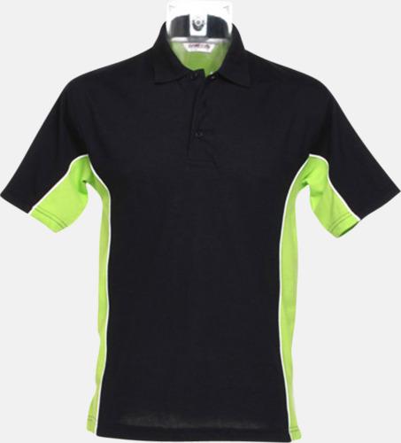 Svart/Limegrön/Vit Sportiga pikétröjor med reklamtryck eller -brodyr