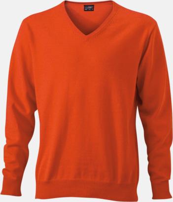 Dark Orange V-ringade herrtröjor med eget tryck