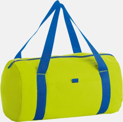 Neon Lime/Royal Blue Trendiga rese- och träningsväskor med reklamtryck