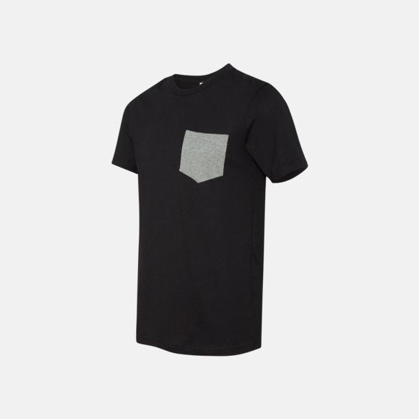 Svart/Deep Heather Herr t-shirts med bröstficka i kontrasterande färg - med reklamtryck