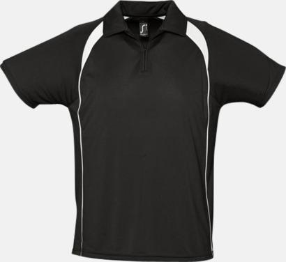 Svart/Vit Färgglada pikétröjor i funktionsmaterial med tryck