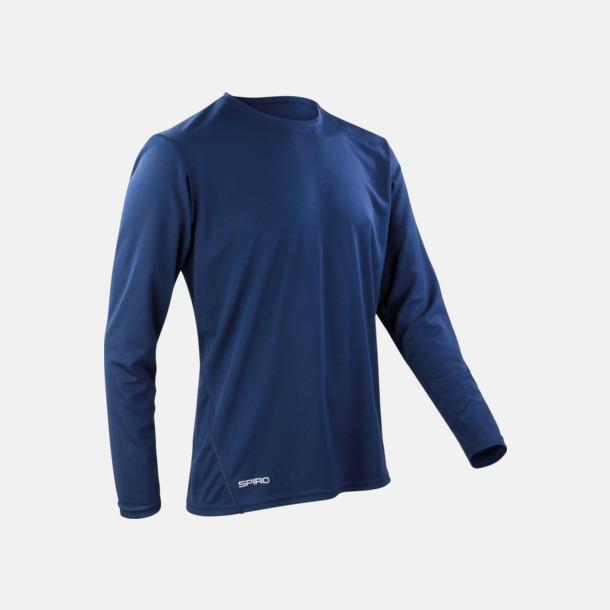 Marinblå (herr) Långärmade funktionströjor i herr- & dammodell med reklamtryck