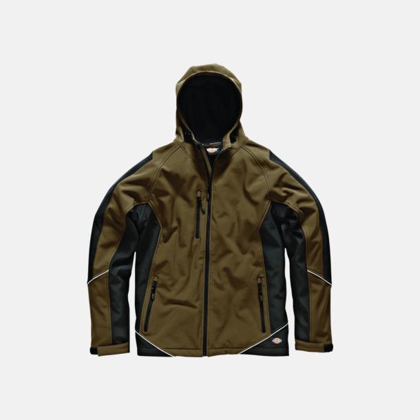 Khaki / Svart Tvåtons softshell-jacka med reklamlogo