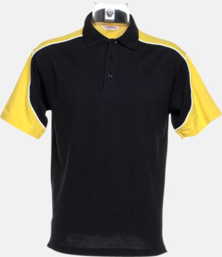 Svart/Gul/Vit Sportiga pikétröjor för i herrmodell - med reklamtryck eller -brodyr