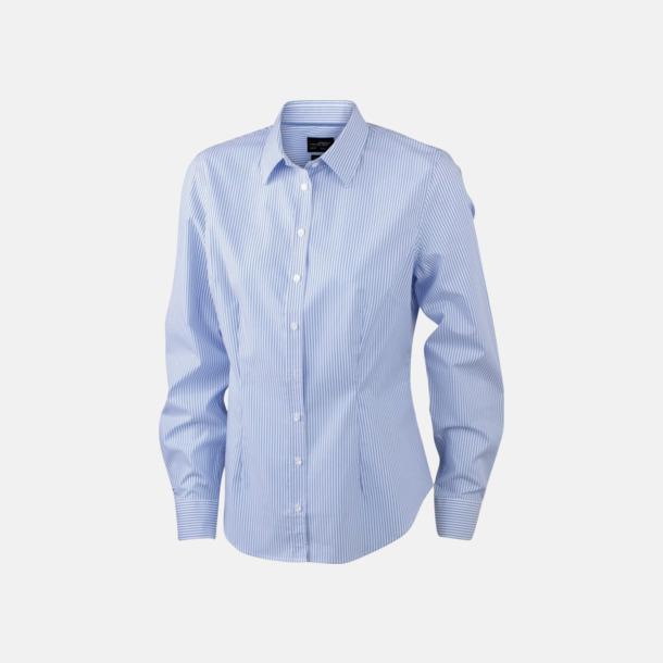 Vit/Ljusblå (dam) Bomullsblusar & -skjortor med fina ränder - med reklamtryck