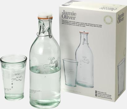 Set glas & karaff av återvunnet glas - med reklamtryck