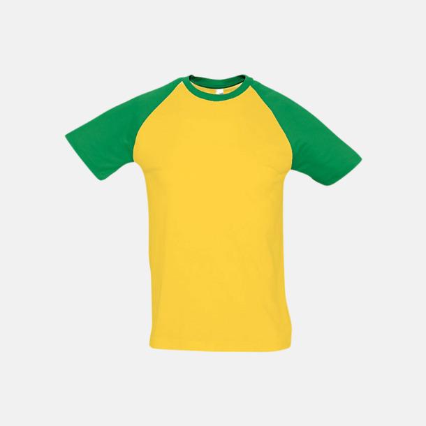 Gold/Kelly Green (herr) T-shirts i herr- och dammodell med kontrasterande färg - med reklamtryck