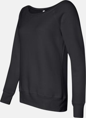 Sida (Solid Black Triblend) Spräckliga damtröjor med vid halsöppning - med reklamtryck