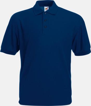 Marinblå Pikétröjor med reklamtryck eller brodyr