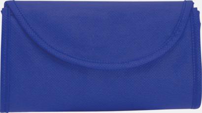 Blå Vikbara non-woven påsar med kardborrestängning - med reklamtryck