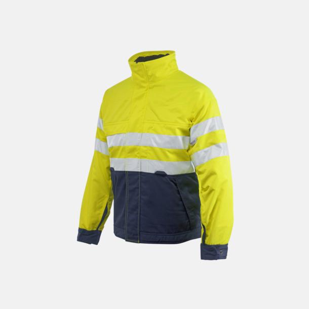 Gul / Marinblå Fodrad herrvarseljacka för yrkesbruk