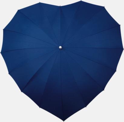 Marinblå (280C) Hjärtformade paraplyer med eget tryck