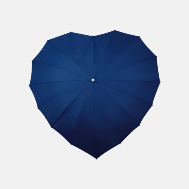 Marinblå (280C) Hjärtformade paraplyer med eget reklamtryck