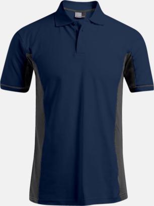 Marinblå/Ljusgrå (endast herr) Pikétröjor i funktionsmaterial med tryck