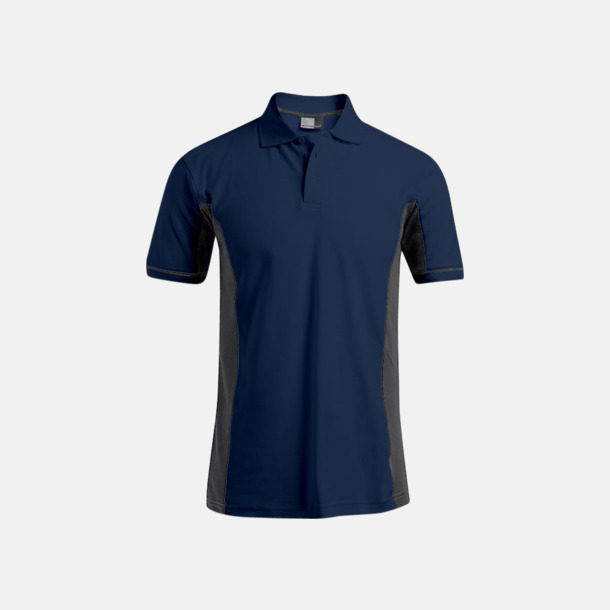 Marinblå/Ljusgrå (herr) Pikétröjor i funktionsmaterial med tryck