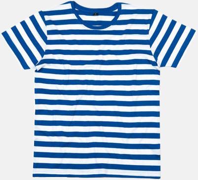 Classic Blue/Vit (herr) Randiga t-shirts i herr-, dam- och barnmodell med reklamtryck