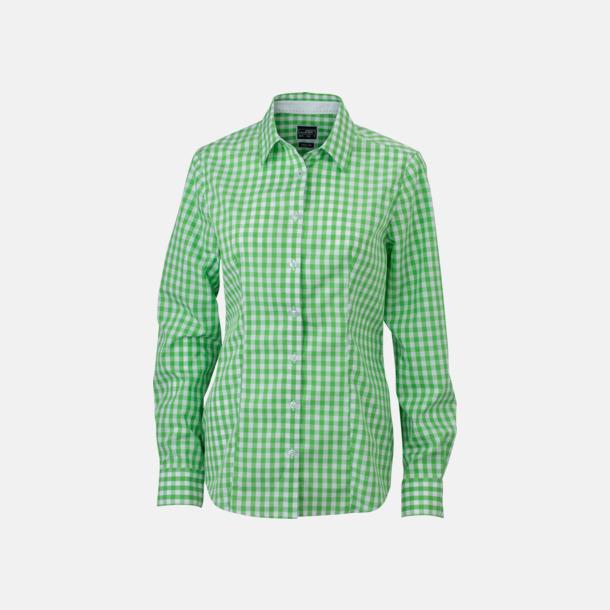 Grön/Vit (dam) Rutiga bomullsskjortor & -blusar med reklamtryck